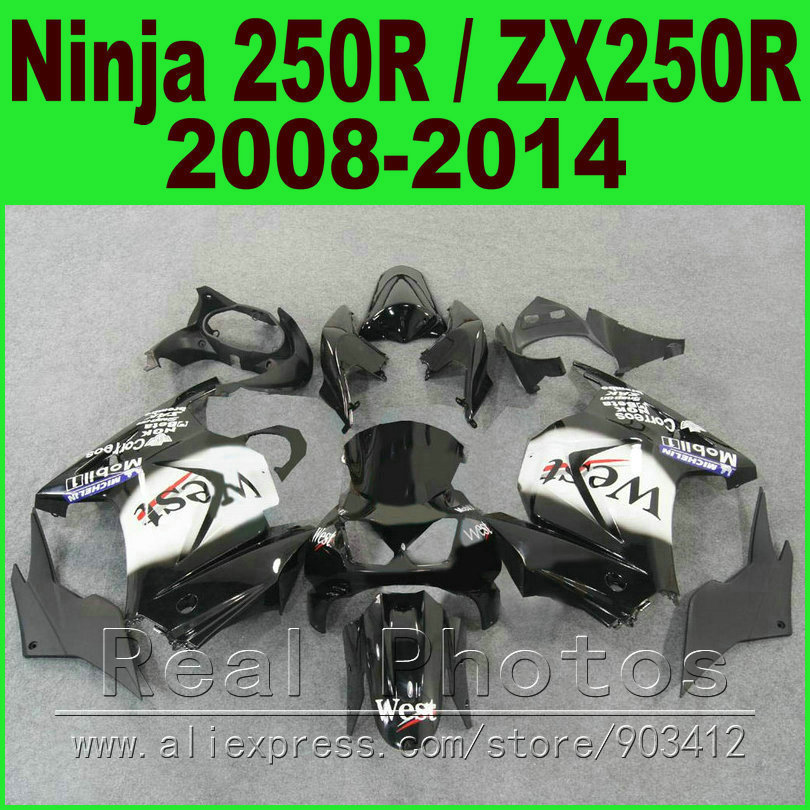 Black white WEST Kawasaki Ninja 250r Fairings bod kit 2008 - 2014 EX250 2009 2010 2011 2012 ZX 250 fairing kits parts R4Y7