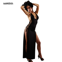New Arrival Sexy Lingerie Hot Black Exposed Chest Halter Long Dress Lacing Backless Split Sexy Costumes