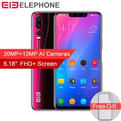Elephone A5 6 GB 128 GB Android 8,1 смартфон MTKP60 Octa Core 6,18 дюймовый FHD + полный Экран 20MP + 12MP Камера 4000 mAh 4G LTE Face ID
