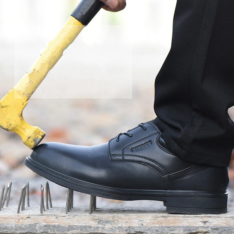 新着メンズファッション鋼つま先キャップ作業安全靴ソフト革ノンスリップ屋外労働者の靴レースセキュリティブーツ男性  グループ上の 靴 からの 作業 & 安全ブーツ の中 1