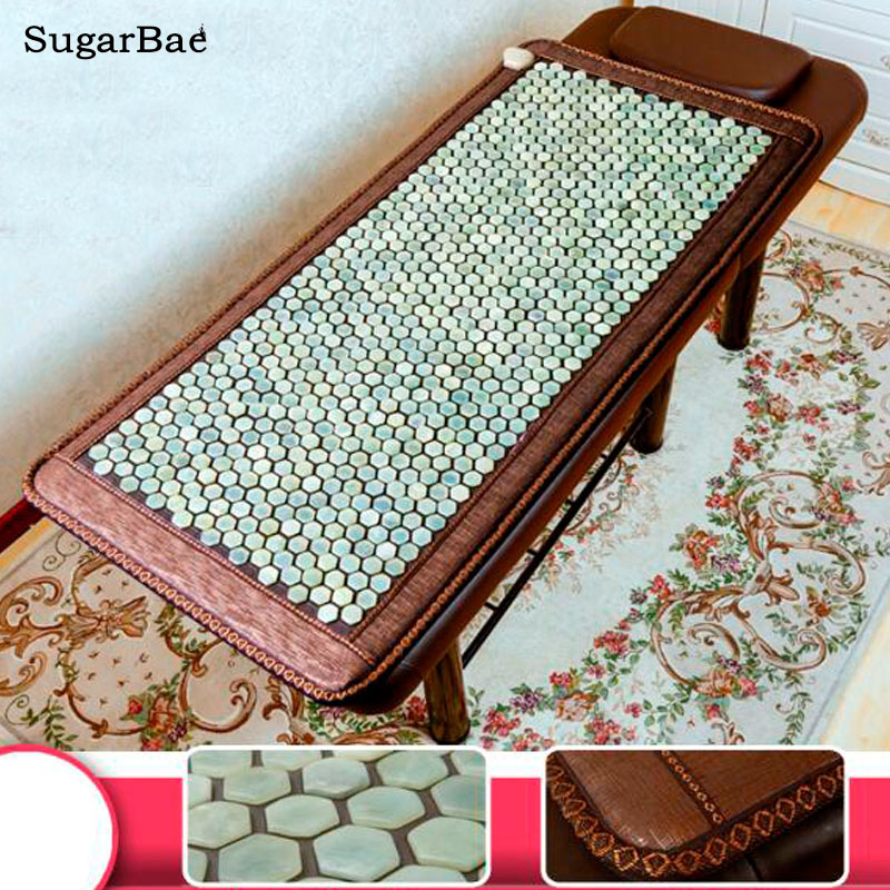 Natural Hexagonal Jade Mat Physical Therapy Body Back Massage Mattress Pad Pain Relief Stone Massager Relax Mat Size 70cmX160cm body slimming relax massage new dance pad non slip dancing step dance game mat pad for pc blanket relax tone leisure recreation