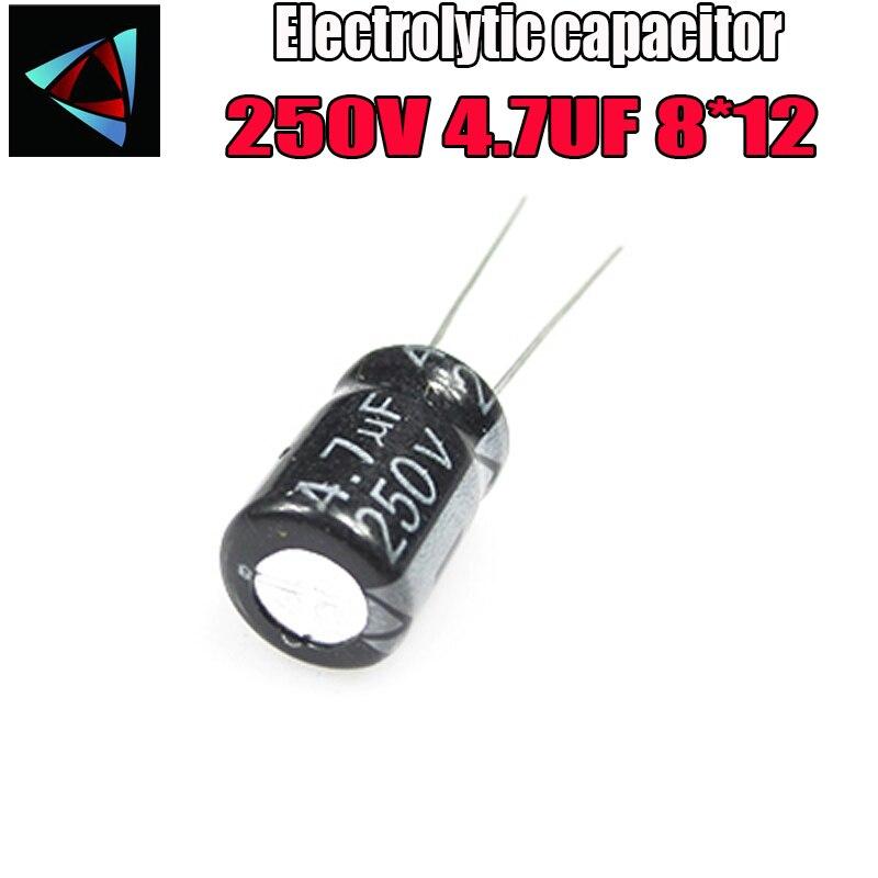 12PCS Higt Quality 250V 4.7UF 8*12mm 4.7UF 250V 8*12 Electrolytic Capacitor