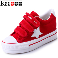 Keloch Super Quality Women Shoes Ladies Star Pattern Flats Canvas Shoes WomenVulcanize Shoes Height Increasing Velcro