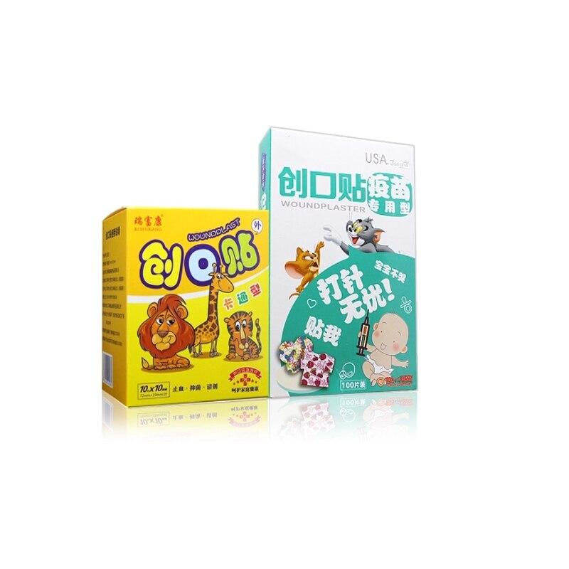 100PCS/Box Waterproof Bandage Cute Cartoon Band Aid Kids Adhesive Wound Paste Color Plaster Cartoon Medical Bandage