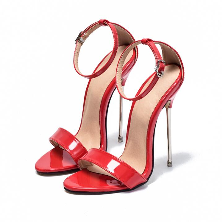 Stylish Red Patent Leather Metal Heels Sandals For Women Ankle Wrap Super High Heeled Dress Shoes Sexy Night Club Dress Shoes geo print wrap dress