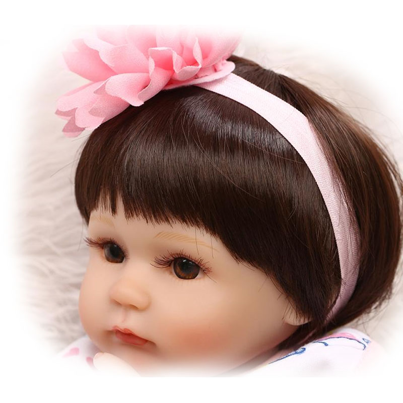Short Brown or Khaki High Temperature Wire Wig Sets Suit 16-17 Inch Reborn Baby Doll Realistic Handmade Smooth Hair Kids Gifts smoke powder double horsetail 100 cm high temperature wire cos wig gasai yuno