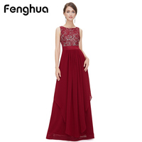 Fenghua Fashion 2018 Chiffon Lace Sleeveless Dress Women Summer Maxi Dress Party Long Sleeve Elegant Sexy