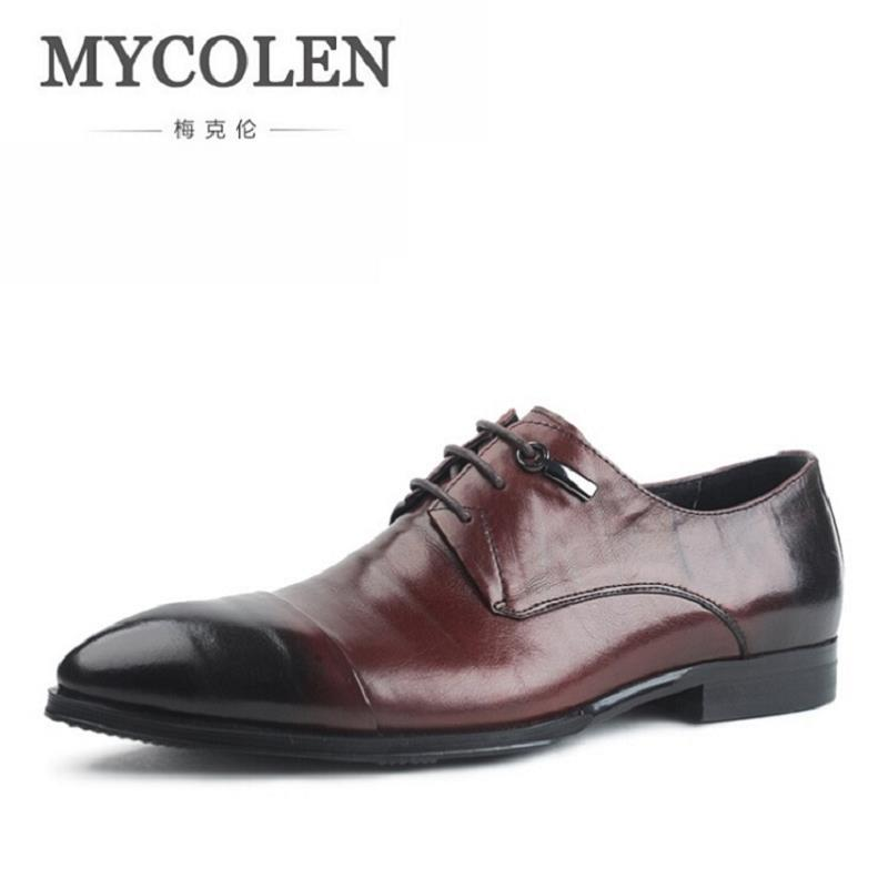 MYCOLEN Men's Leather Lace-Up Dress Shoes Men Business Office Oxfords Man Casual Wedding Flats Shoes Adult Sapatos Masculinos good quality men genuine leather shoes lace up men s oxfords flats wedding black brown formal shoes