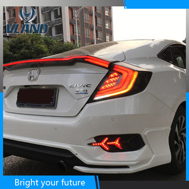 Us 318 75 15 Off Led Tail Lights Fit For Honda Civic 10th 2016 2017 2018 Rear Lamp Red Smoked Lamps Brake In Car Light Assembly From Automobiles