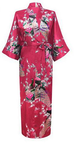 Sexy Charming Long Faux Silk Robe Gown Casual Nightgown Print Peacock&Flower Sleepwear Plus Size S-XXXL