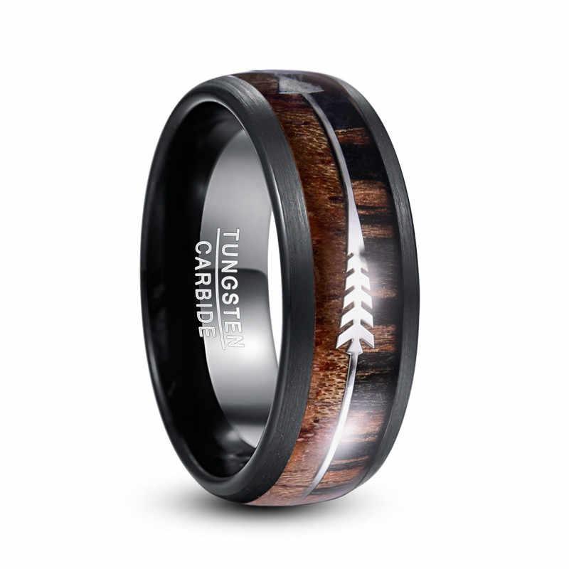 BONLAVIE حلقات كربيد التنغستن للرجال 8 مللي متر الجوز الأسود واسعة الخشب الفضة السهم قبة حفل زفاف مجوهرات خاتم رجالي