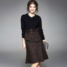 Asymmetrical Suits Dress Women Two Pieces Set Slashes Long Sleeves Patchwork Top Side Split Dress Ladies 2018 New Fashion недорго, оригинальная цена