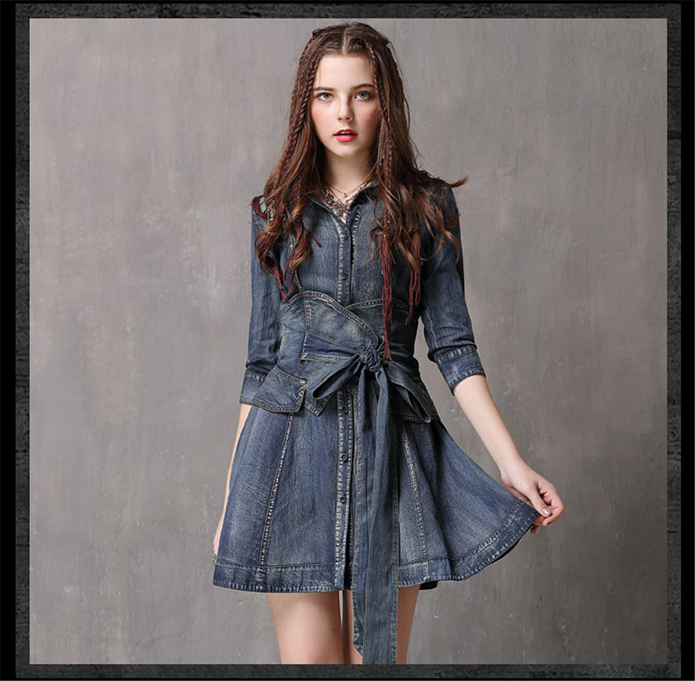 Vintage Summer Sashes Dress 2018 New Denim Three Quarter Sleeve  Dresses Turn-down Collar A-line Single Breasted Vestios (13)