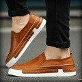 fashion set foot Leather Men shoes platform soft bottom behalf  loose comfortable men casual shoes