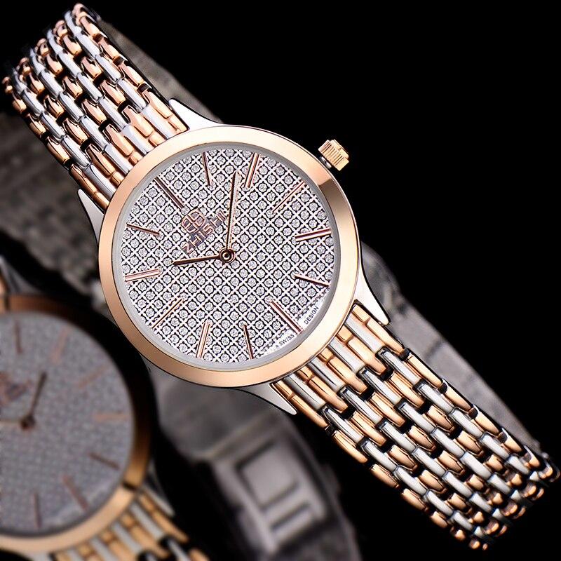 Top Brand Women Rose Gold Watch Quartz Ultra Thin Luxury Diamond Ladies Watch 50M Waterproof relogio feminino
