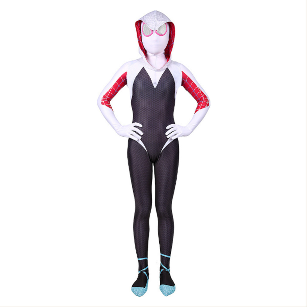 3D kids Child Gwen Stacy Spider-man Cosplay Costume Gwendolyn Maxine Stacy Spiderman Zentai Bodysuit Suit Jumpsuits Halloween