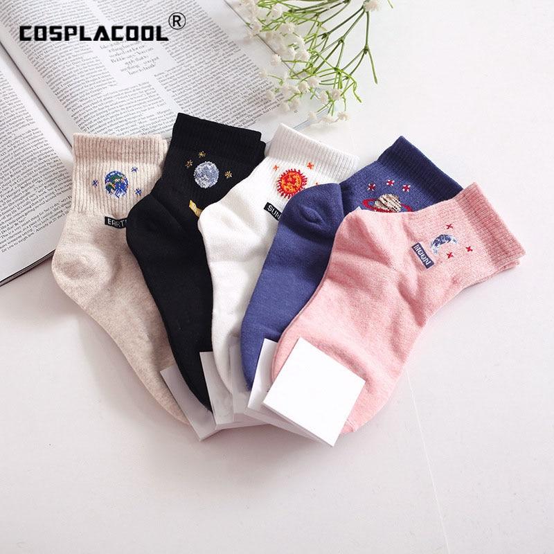 [COSPLACOOL]South Korean Harajuku Funny Socks Creative Astronaut Cotton Cute Socks Women Moon Planet Sun Design Tube Meias New