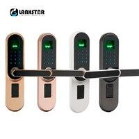 Lanxstar ручка замок электронные замки смарт цилиндр двери замок входная дверь Интеллектуальная блокировка отпечатков пальцев пароль клавиши
