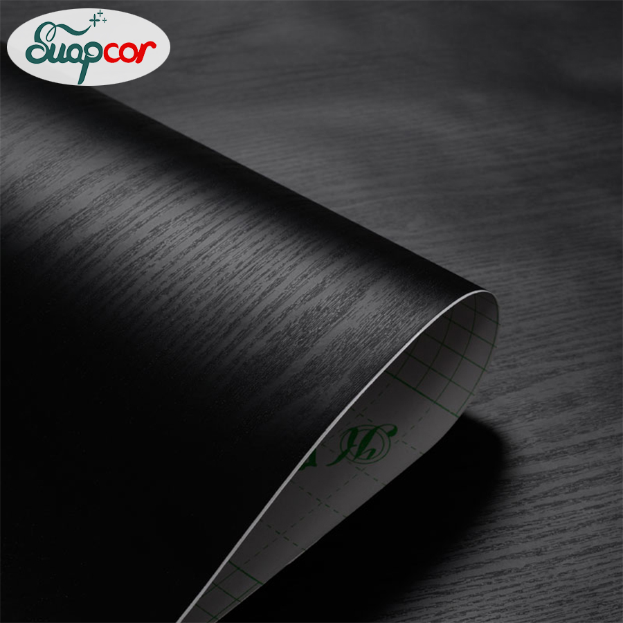 0 4x3M Black Wood Grain Self Adhesive Wallpaper Bedroom Decoration Wall Stickers Room Cabinets Wardrobe Door Waterproof Stickers in Wallpapers from Home Improvement