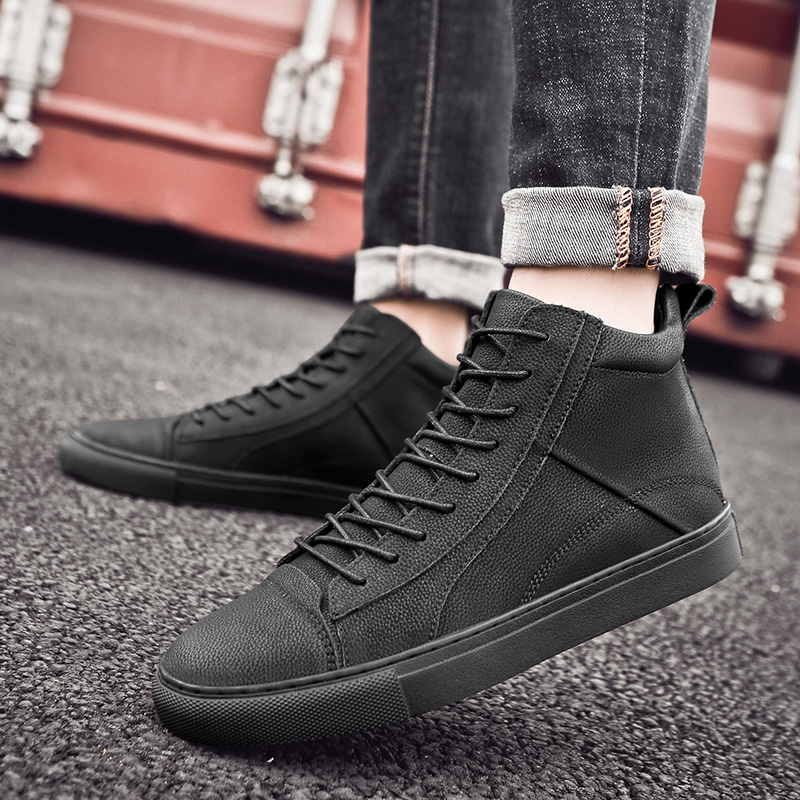 2019 New High top Men 39 s Shoes Man Casual Leather Shoes Luxury Brand Trainers Outdoor Waterproof Sneakers Men Work Safety Shoes in Men 39 s Casual Shoes from Shoes
