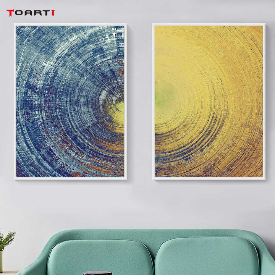 Image 3 - Abstract Blue And Yellow Circles Pattern Canvas Painting Modern Posters And Prints Wall Art Pictures For Living Room Home Decor-in Painting & Calligraphy from Home & Garden
