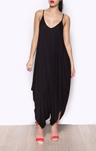 High Quality Fashion Sexy Deep V-neck Spaghetti Strap Loose Jumpsuits Rompers Women Plus Size Casual Jumpsuits