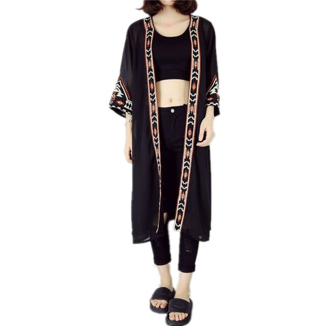 2017 Black White Kimono Cardigan Women Embroidery Long Cardigan ...