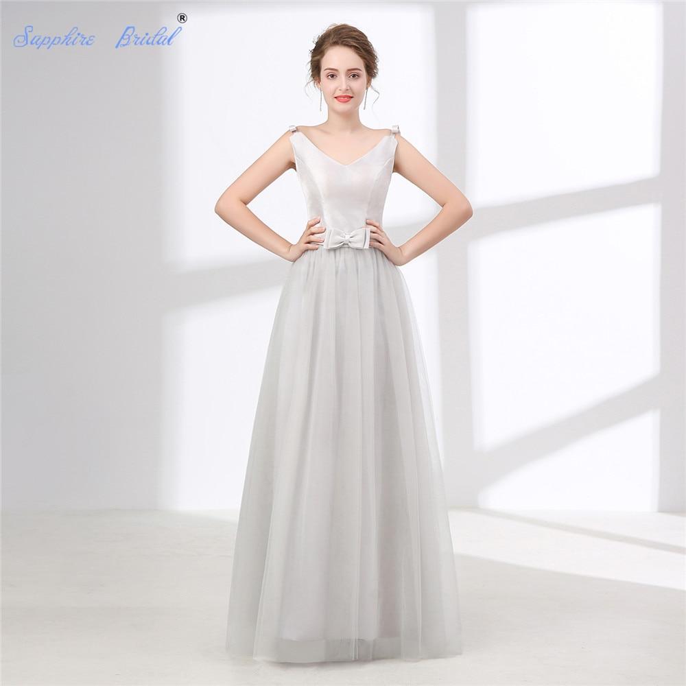 Sapphire Bridal Vestido De Noiva Beach Wedding Dress White Ivory Silver Grey Double V Neck Long Boho Bridal Gown