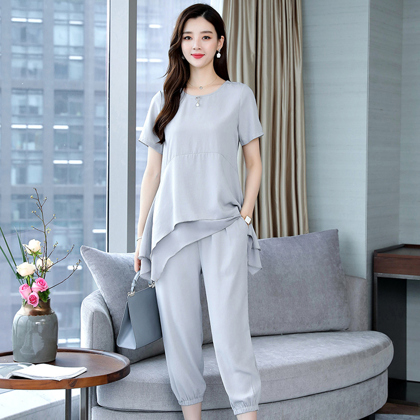 YICIYA Chiffon Plus Size 3XL 4XL 5XL Summer 2 Piece Set Women Outfit Tracksuit for Women Pants and Top 2019 Summer Gray Clothing in Women 39 s Sets from Women 39 s Clothing