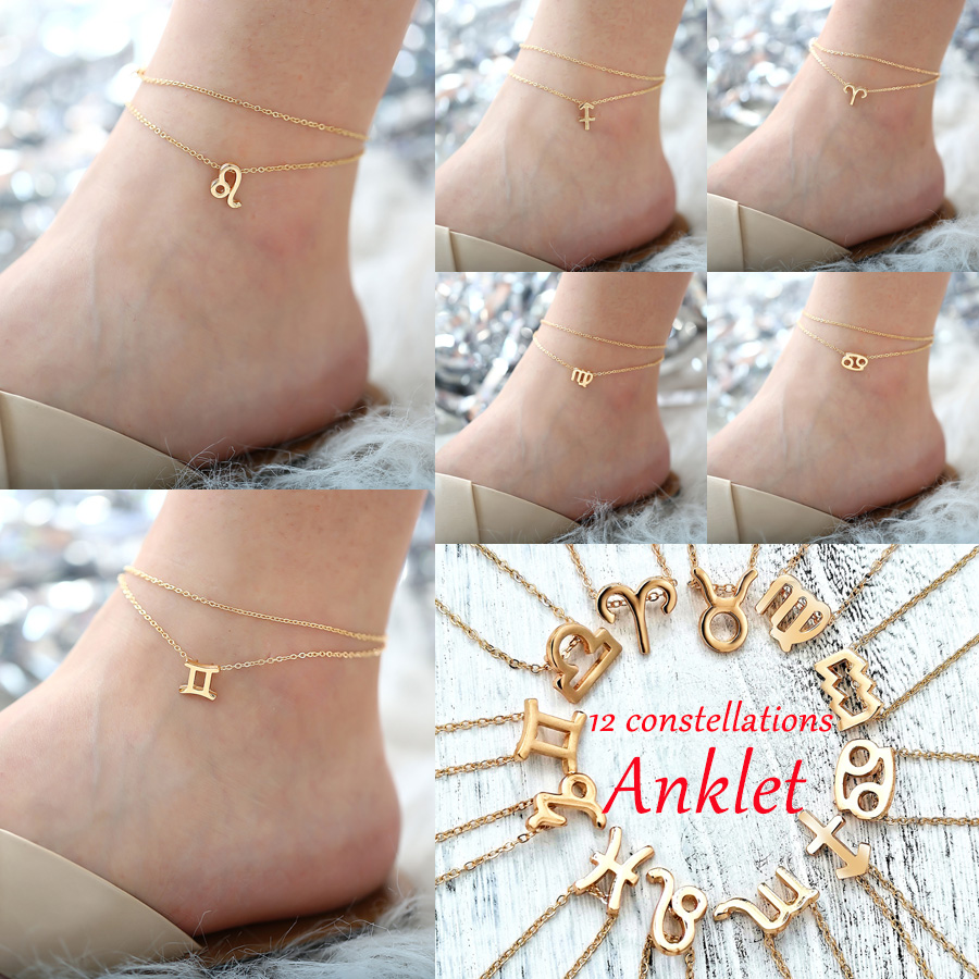 IF ME Multilayer 12 Constellation Zodiac Sign Anklets for Women Girl Gold Beach Ankle Bracelet On Leg Fashion Jewelry 2019 Gifts