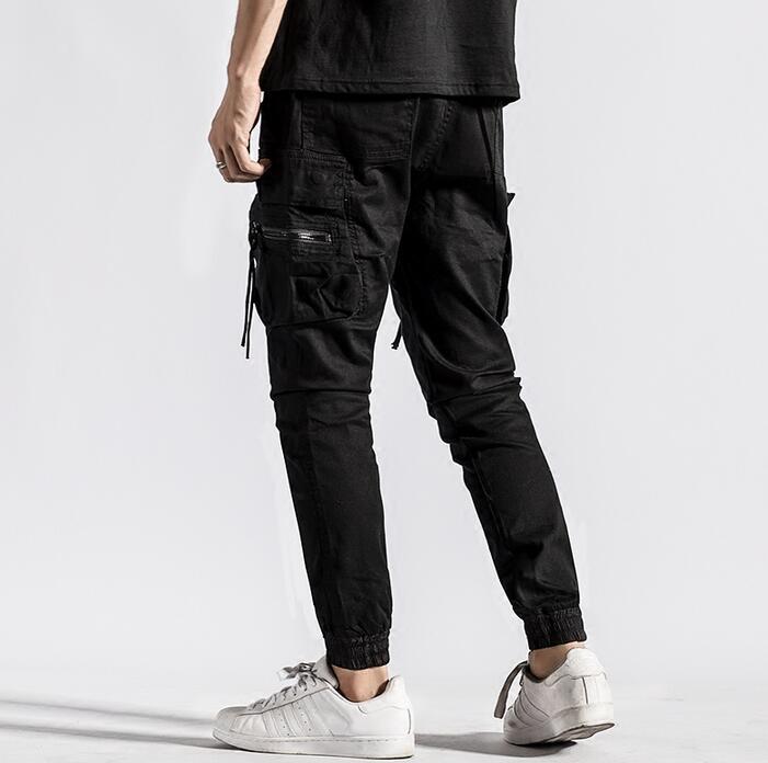 Молодежи Черный личности моды случайные штаны-шаровары Мужские Брюки Хомбре Брюки-Карго Облегающие штаны для мужчин мужские панталоны Кор... ...