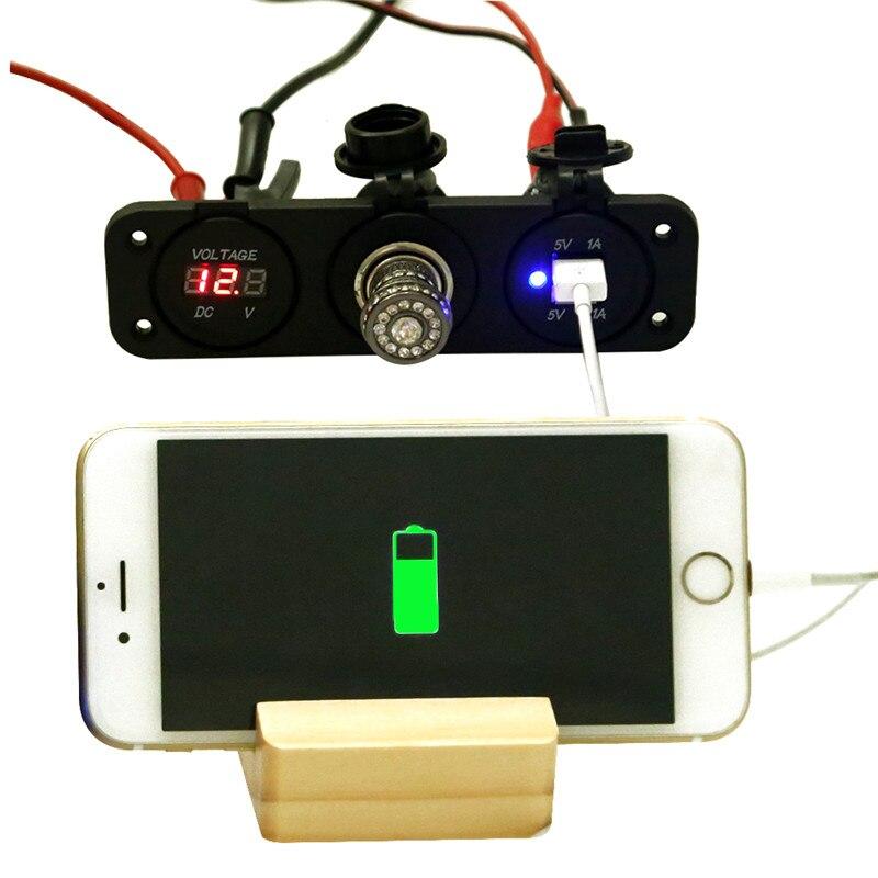 imágenes para 12 V Dual USB de Cigarrillos Del Coche Auto Del Alumbrador Del Divisor Del Zócalo DC 5 V 2.1A Adaptador de Corriente Cargador para iPhone Digital voltímetro Display