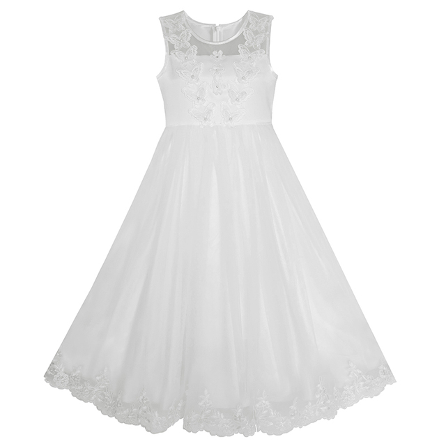 Sunny Fashion Flower Girls Dress Lace hem Butterfly Wedding First Communion 2017 Summer Princess Party Dresses Clothes Size 7-14