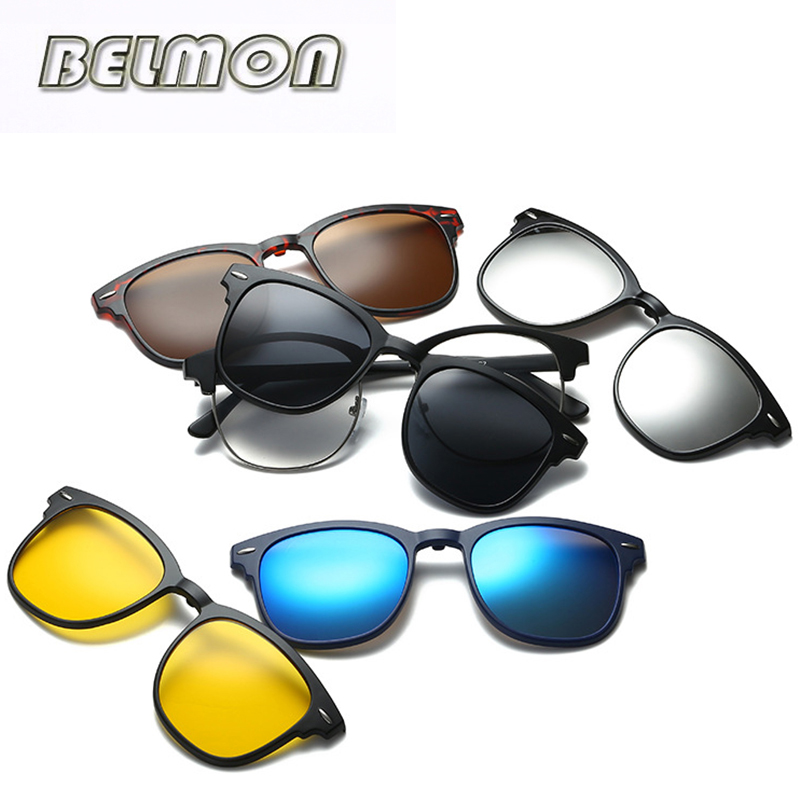 font b Fashion b font Spectacle Frame Men Women Optical Myopia With 5 Clip On