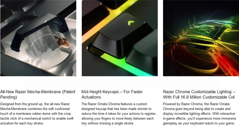 Razer Ornata Chroma Light Mechanical Keyboard Wired Gaming Keyboards  Medium-height Keycap Ergonomic Design Wrist Rest 104 Keys