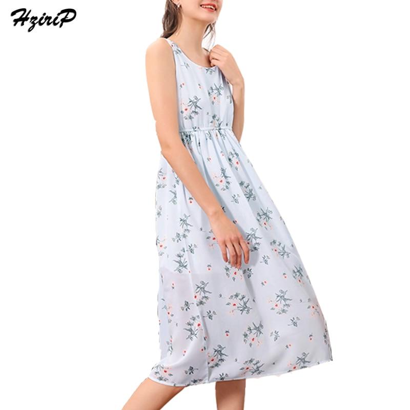 285e4f98b87 Hzirip Woman Fashion Boho Mid Print Floral Dresses Plus Size Light Blue  Dress Sleeveless Summer Sundress Vestido Beachwear Dress-in Dresses from  Women s ...