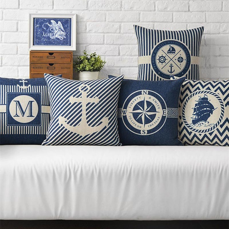 Nordic Style Sea Blue Compass Printed Cushion Cover Anchor Pattern Marine Ship Decorative Throw Pillow Case Almofadas Cojines