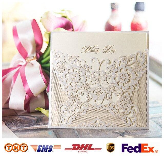 Corte láser blanco invitaciones de boda para imprimir y personalizar