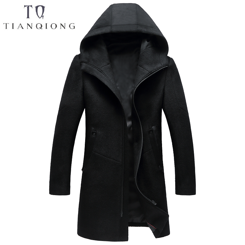2018 Autumn and Winter New Style Luxury High Quality Men's Wool Coat Thick Warm Zipper Solid Color Trench Coat Jackets for Men
