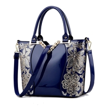 New 2017 Europe fashion women bags sequin embroidery Luxury patent leather famous brands design handbag women messenger bags