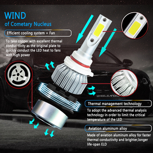 Image 2 - Передние фары Visture для автомобиля, светодиодные фары для авто, 1 пара, лампы H4 H7 H11 H8 HB4 H1 H3 HB3, фары ближнего и дальнего света 6500К, 12 В, передние фары С6