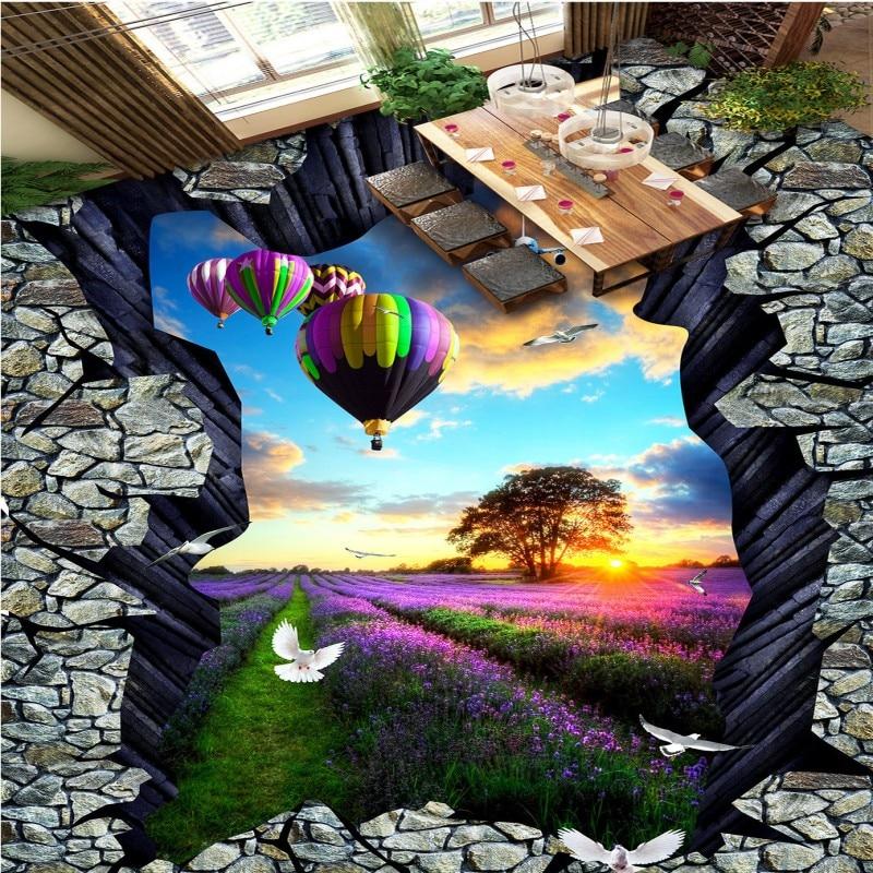Free Shipping Lavender Manor Landscape 3D Stereo Painting living room bedroom floor wallpaper mural