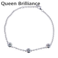 Queen Brilliance Solid 14K 585 White Gold 1.5 Carats ct FGH Color Moissanite Diamond Bracelet For Women Test Positive