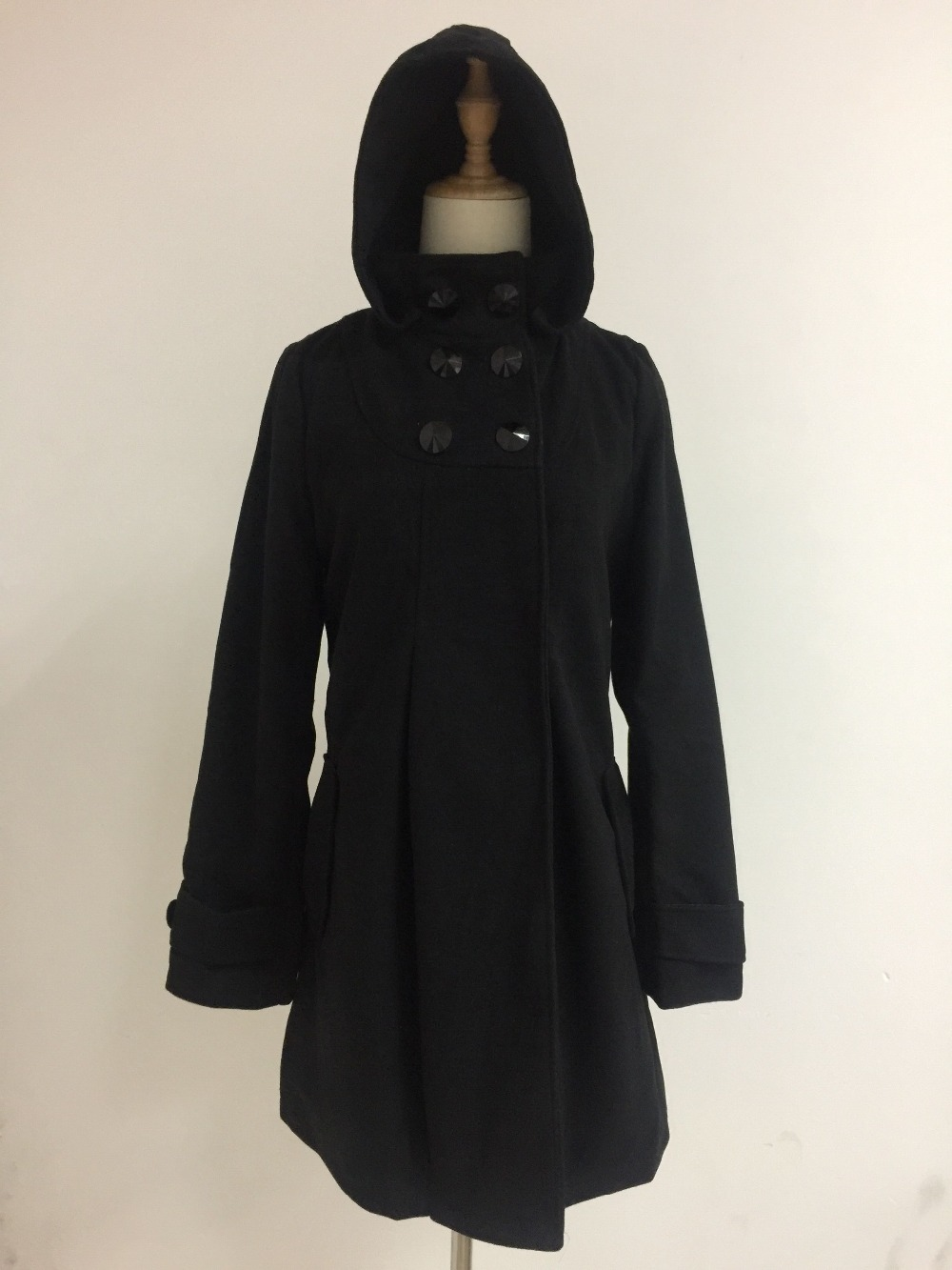 Elegant Coat for Women Pockets Casual Hooded Wool Coat and Jacket Solid Autumn Winter Women Clothes 2018 Plus Size 3XL 4XL 12