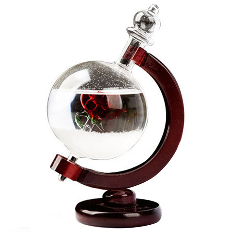 Beautiful Globe Shape Weather Forecast Bottle Crystal Storm Glass with Wooden Base Desk Room Ornaments Home Decoration
