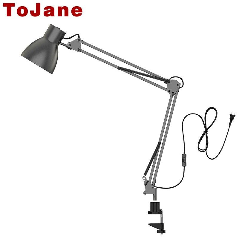 Tojane TG801 длинные настольная лампа Swing Arm светодио дный настольная лампа офис светодио дный Чтение свет Главная лампе бюро светодио дный Насто...