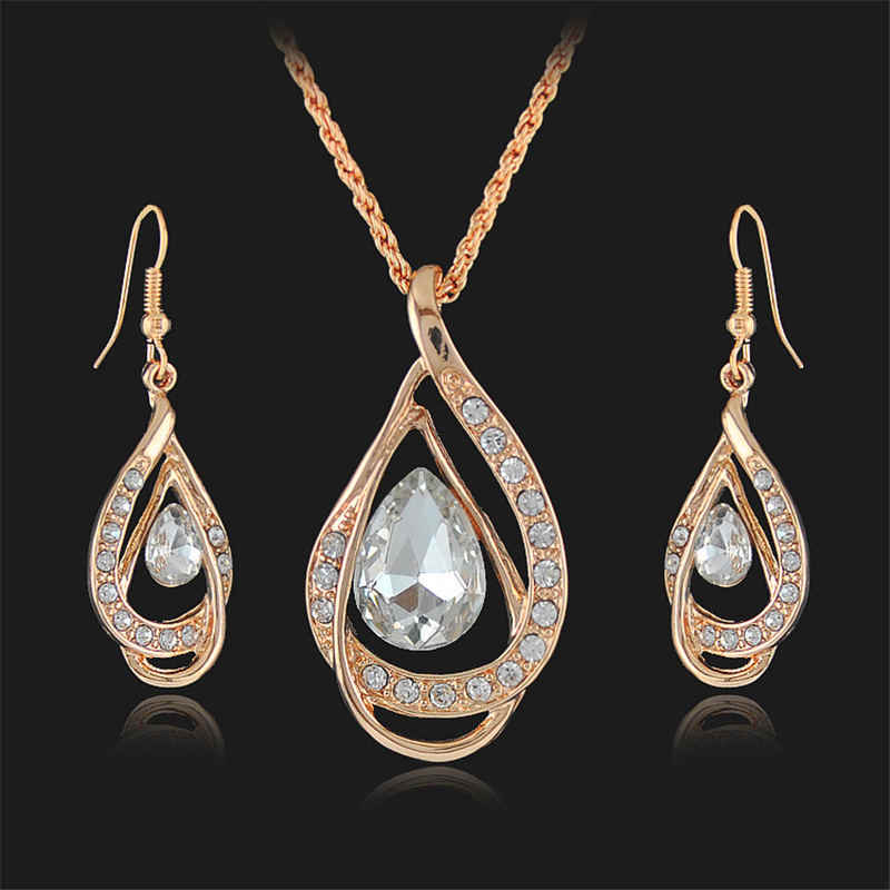 Female Fashion Pendants Necklaces Earrings sets Gold rhinestone crystal bridal wedding jewelry sets for women