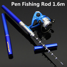 1.5m Hot Aluminum alloy Pocket Pen Fishing Rod Fishing Pole + Spinning Wheel Reel Pesca Fishing Gear Set Wholesale