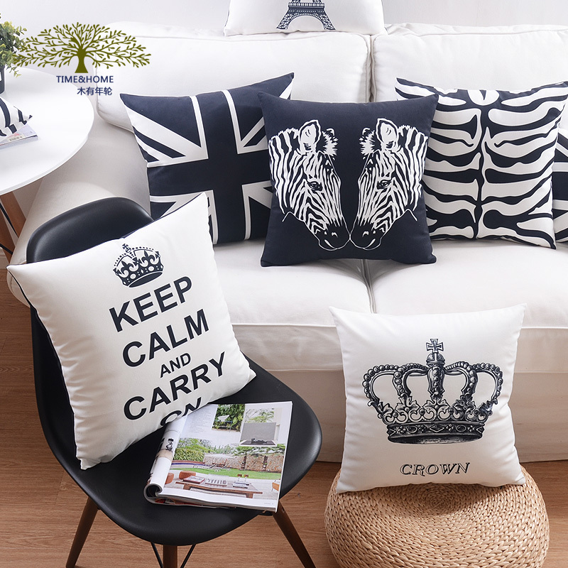Tree Birds Soft Cushion Covers Crown ARROW Horse UK flag Black and Beige Pillow Cases Paris Bedroom Sofa Decoration
