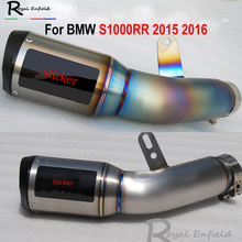 Real Titanium Alloy Motorcycle Motorbike S1000RR 2015 2016 Exhaust Muffler Full System Link with Mid Pipe and Exhaust Muffler